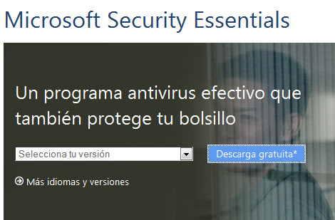 Descarga Security Essentials, el antivirus gratuito de Windows