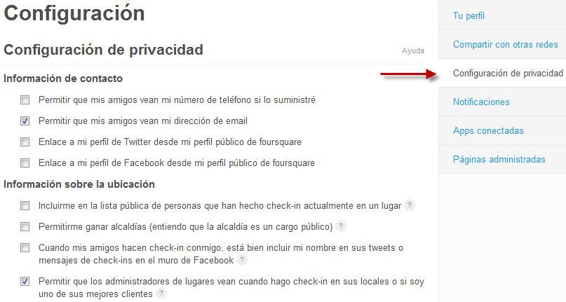 Tutorial: Cómo configurar la privacidad en Foursquare