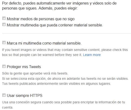 como configurar la privacidad en twitter