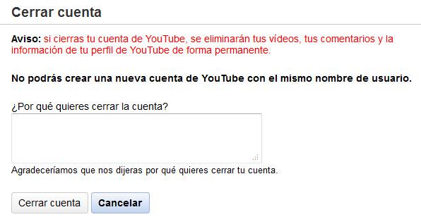 Como eliminar la cuenta de Youtube