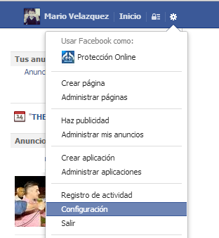 Resultado de imagen para configuración facebook